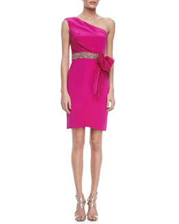 Notte by Marchesa One-Shoulder Bow-Waist Cocktail Dress