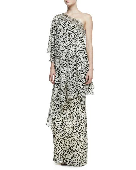 One-Shoulder Leopard-Print Caftan Gown