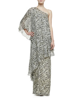 Notte by Marchesa One-Shoulder Leopard-Print Caftan Gown