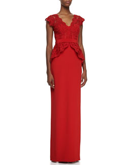 Notte by Marchesa Cap-Sleeve Lace Bodice Gown