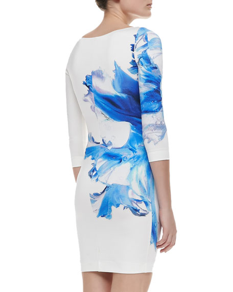 Orchid-Print Stretch-Jersey Dress