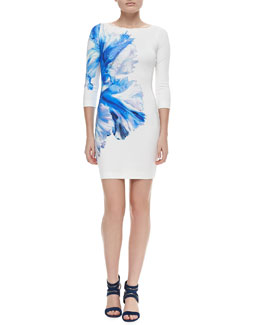 Just Cavalli Orchid-Print Stretch-Jersey Dress
