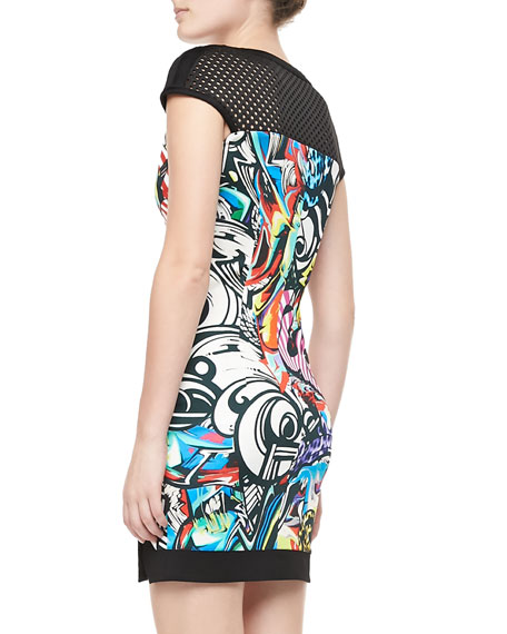 Mesh-Yoke Graffiti-Print Dress