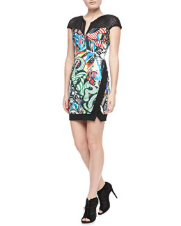 Just Cavalli Mesh-Yoke Graffiti-Print Dress