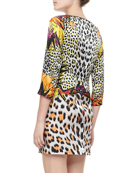 Mixed Leopard-Print Silk Dress