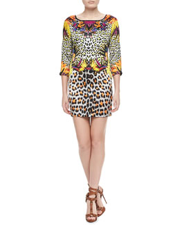 Just Cavalli Mixed Leopard-Print Silk Dress