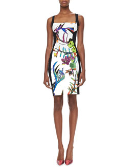 Just Cavalli Contour-Panel Floral-Print Sheath Dress