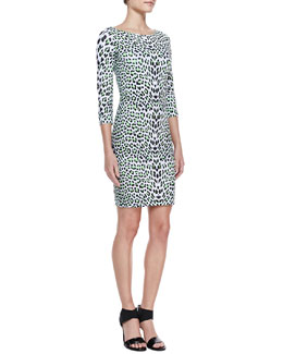 Just Cavalli 3/4-Sleeve Leopard Boat-Neck Dress, Green/Multi