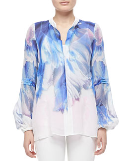 Just Cavalli Watery Printed Silk Blouse, White/Blue