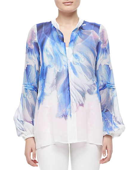 Watery Printed Silk Blouse, White/Blue