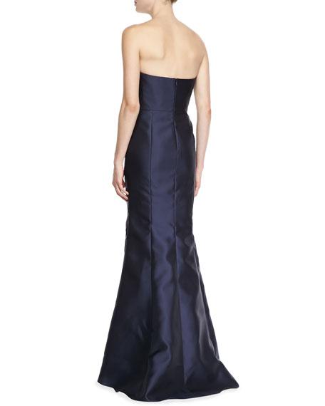 Strapless Satin Peplum Gown, Midnight