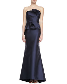 Carmen Marc Valvo Strapless Satin Peplum Gown, Midnight