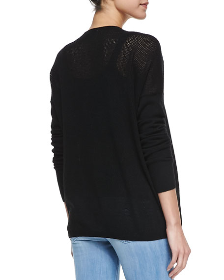 Cashmere Perforated-Back Sweater, Black