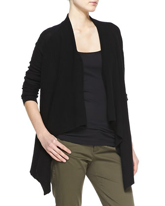 Ribbed Cashmere Draped Open Cardigan, Black