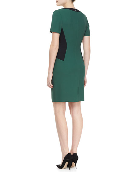 Short Sleeve Colorblock Locket Dress, Emerald/Green