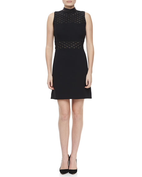 Mock-Neck A-Line Dress, Black