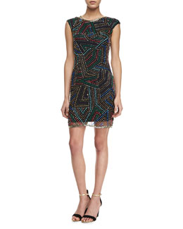 Phoebe by Kay Unger Jewel-Neck Sequined Cocktail Dress