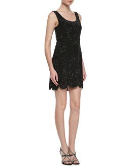 Phoebe Couture Beaded Sleeveless Scalloped-Hem Dress