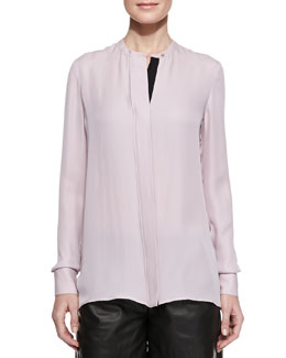 Vince Contrast-Placket Silk Blouse