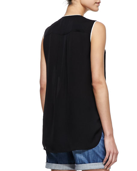 Silk Sleeveless Blouse, Black