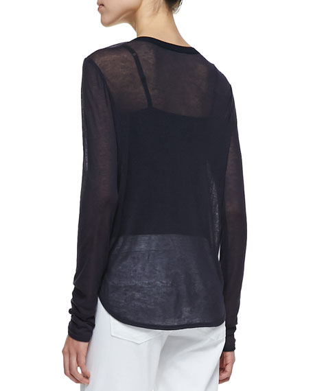 Satin-Front Jersey Top