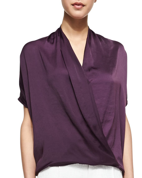 Draped Satin Wrap Blouse