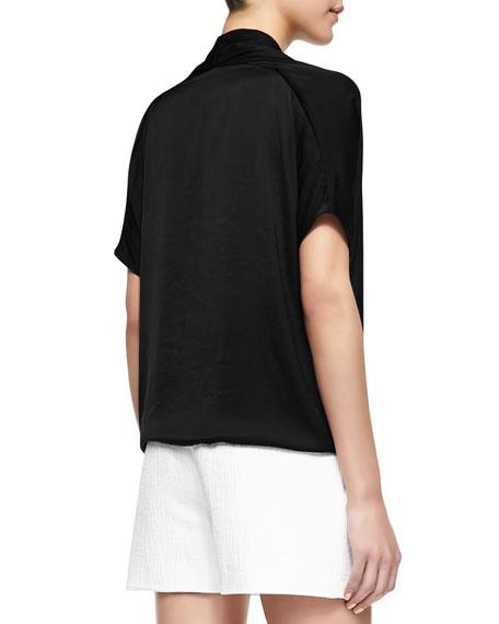Short-Sleeve Wrap Blouse