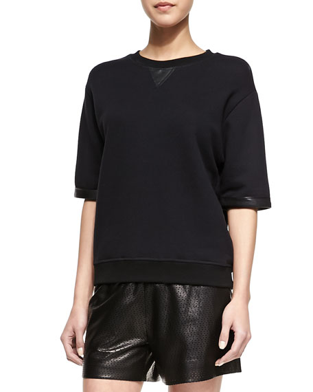 Leather-Trim Knit Half-Sleeve Sweatshirt
