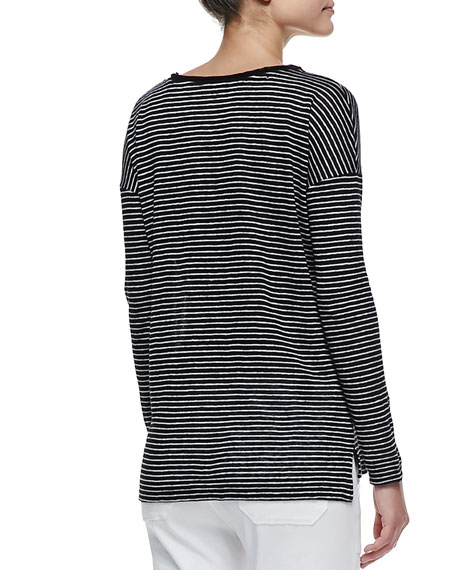 Long Sleeve Striped Tee, Black