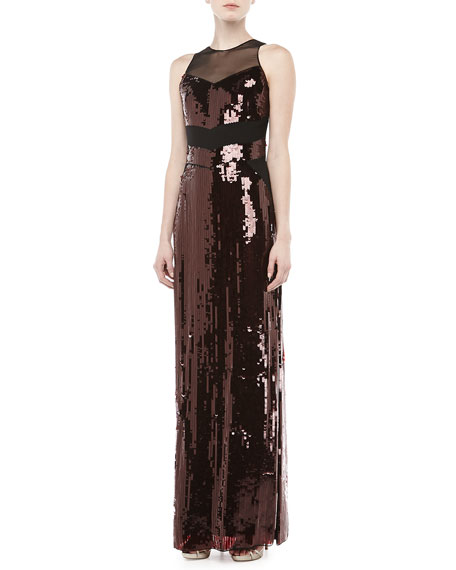 Sequined Mesh Sleeveless Gown