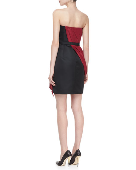 Strapless Draped Dress, Ruby/Black