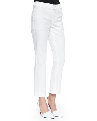 Cropped Flare-Cuff Twill Trousers, White