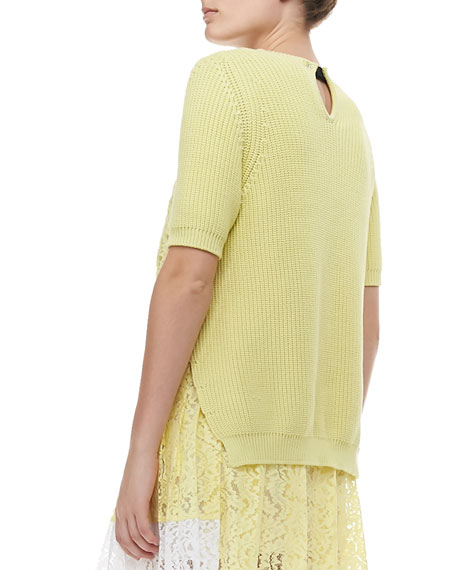 Short-Sleeve Knit Sweater with Lace Inset