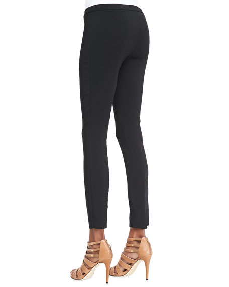 Cropped Slim-Leg Cady Pants with Zip Ankles