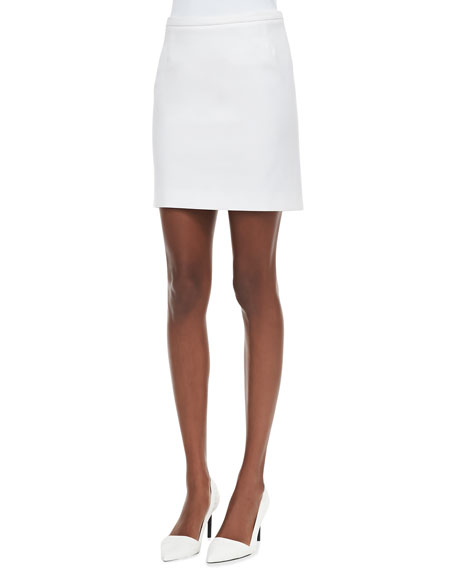 Ponte Skirt with Pleated Back, White