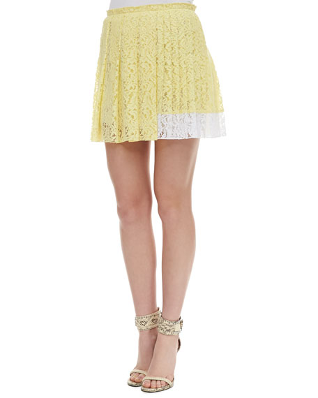 Colorblock Pleated Lace Skirt, Yellow/White