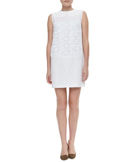 No.21 Sleeveless Mixed Lace Shift Dress, White