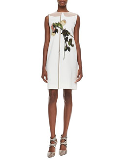 No.21 Printed Flower Sheath Dress, Ivory