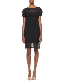 No.21 Lace-Yoked Empire-Waist Dress, Black