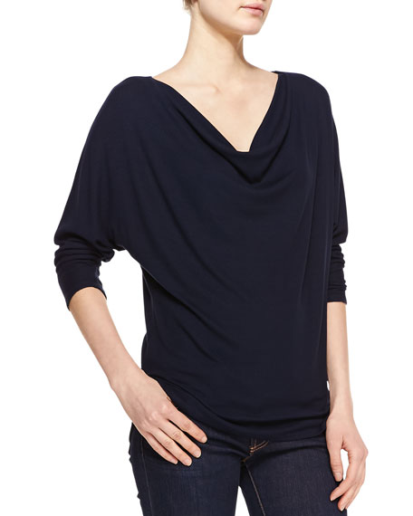 Jersey Cowl-Neck 3/4-Sleeve Top