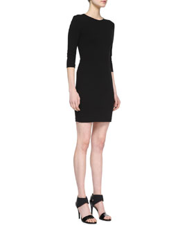 Three Dots Ponte 3/4-Sleeve Sheath Dress