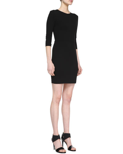 Ponte 3/4-Sleeve Sheath Dress