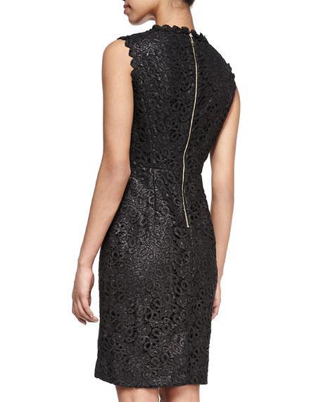 sleeveless lace sheath dress, black