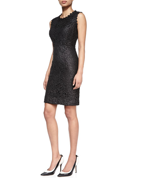 sleeveless lace sheath dress, black