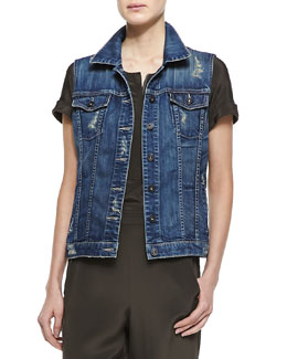 Vince Alex Distressed Denim Vest