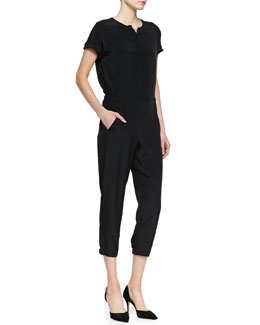Vince Short-Sleeve Silk Jumpsuit