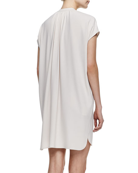 Short-Sleeve Popover Dress, Beige