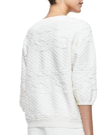 Puff-Sleeve Jacquard Sweatshirt