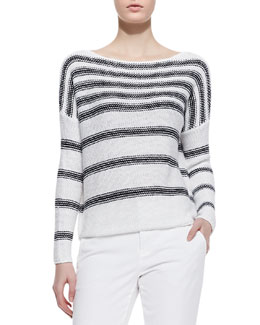 Vince Textured Stripe Sweatshirt, White/Coastal