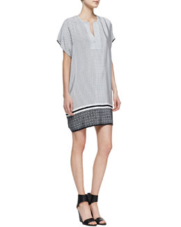 Vince Printed Split-Neck Dress